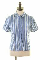 GANT Womens Shirt Short Sleeve UK 12 Medium Blue Striped Cotton  AV04
