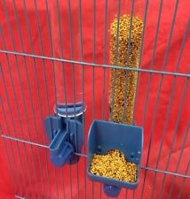Alimentador del Pájaro semilla & Agua Clipper fuentes alto externo Budgie Canary Finch Azul