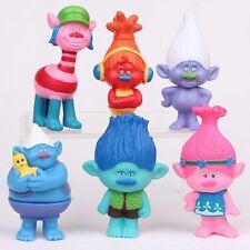 6pcs Trolls Figure Play Set Movie Cartoon Magic Long Hair Dolls Kids Toys Gift