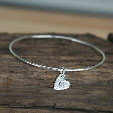Silver Hammered  Heart Charm Bangle - Handmade Sterling Silver Hammered Bangle