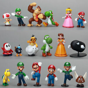 18Pcs Super Mario Bros Action Figure Model Statue Doll Cake Topper Toys Display