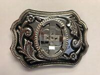 Brand New Blank Cabochon 40x30 Belt Buckle Chrome Plated & Black Enamel