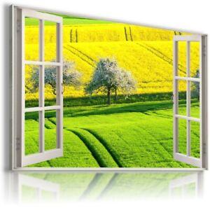 GREEN ROAD FIELD 3D Window View Canvas Wall Art Picture W64 UNFRAMED-ROLLED