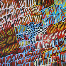 PRINT ON CANVAS aboriginal art painting jane crawford  100cm x 100cm