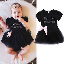Baby Girls Infant Toddler Embroidered Little Black Dress Princess Party Dresses