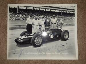 JACK BRABHAM & JOHN COOPER 1961 INDY 500 CREW AUTHENTIC PEN AUTOGRAPHED PICTURE