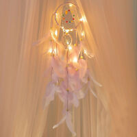 1x Dream Catcher With LED Night Light Feathers Light Handmade Night Light hot