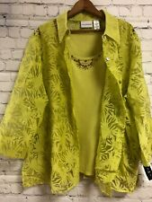 Alfred Dunner Plus Size 20 NWT Green Button Up Sheer Top Beaded Tank Attached