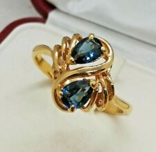 Anello vintage 1980s design abstract sapphire drops gold ring