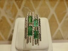 Vintage FS 18k white gold green tourmaline modernist abstract cocktail ring 6