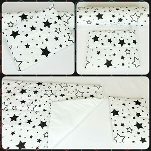 Baby bedding set SMALL baby blanket nursery and pillow mixed black stars