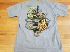 Vintage Hard Rock Cafe Bangkok T Shirt Size L large Dragon guitar gray rare