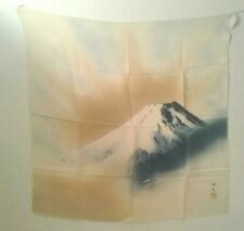Scarf Mt. Fuji Textured Silk Scarf Vintage Made in Japan Signed