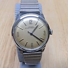 Vintage Croton Nivada Grechen Mens 17 Jewels Swiss Hand-Winding Watch Hours~Runs