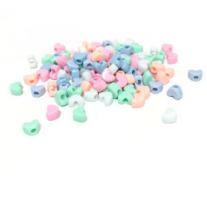 Pastel Mixed-Colour Acrylic Pony Beads Heart Spacer 11.5x9mm Pack Of 100+