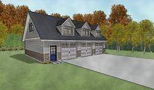 Triple Car / 3 Car Garage Architectural Plans / Blueprints - 43 X 30 With Loft