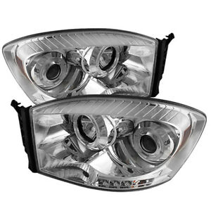 Fit Dodge 06-08 Ram Chrome Dual Halo LED Projector Headlights Head Light Lamp
