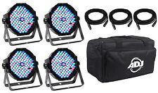 American DJ MEGA FLAT PAK 4x Mega Par Profile +3x 6' Foot DMX Cables +Travel Bag