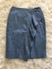 New J Crew Ruffle Skirt in Chambray Blue Sz 6 G2285