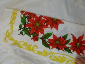 """Vintage NOS Christmas POINSETTA  Snowflake LINEN Tablecloth In package 52"""" Sq"""