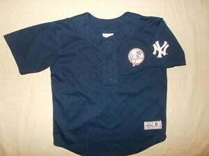 MLB NEW YORK YANKEES JETER SHORT SLEEVE BASEBALL JERSEY BOYS SMALL EXCELLENT