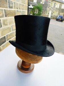 Vintage black silk top hat 56cm 1920's period