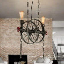 Retro Bronze Metal Wheel Water Pipe 2 Exposed Edison Bulb Hanging Pendant Lamp