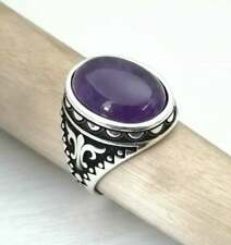 Men Amethyst Ring Sterling Silver Turkish Oxidized Men Gift Purple Stone Ring