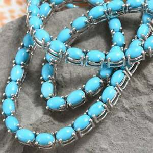 """Art Deco Sleeping Beauty Turquoise Tennis 16"""" Necklace in 14K White Gold Over"""