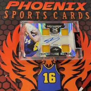SHAQUILLE O'NEAL 4x Game-Used Jersey Patch Auto 4/15 2021 Leaf Ultimate Sports J