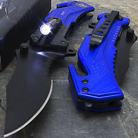 "8.25"" NAVY SPRING ASSISTED TACTICAL FOLDING KNIFE Pocket Blade Assist Flashlight"