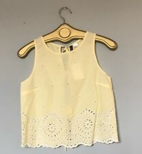 NWT H&M Divided Sz 4 Eyelet Cotton Yellow Crop Top Blouse Embroider Summer Boho