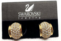 Vintage Swarovski Swan Gold Tone Hoop Crystal Rhinestone Pierced Earrings