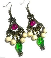 Pink Green Bronze Earrings Chandelier Drop Dangle Antique Vintage Style Pierced