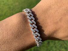 "Men's Iced Silver Plated Prong Set Lab Diamond Bracelet 7"""