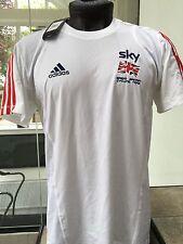 """ADIDAS Da Uomo GB CICLISMO TEAM SKY PRO RIDER questione Bianco T-Shirt Tee S EU 4 36/38"""""""