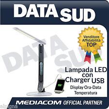 Lampada  MEDIACOM LED Scrivania caricabatteria USB Display Ora-Data M-LAMP5USB