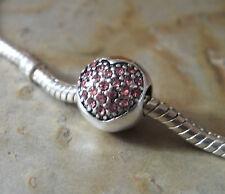 Pave Bead Element Kugel Rosa Strass Herz Farbe Silber plattiert für Armband 0002