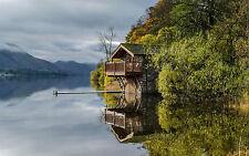 Incorniciato stampa-Lakeside BARCA CABINA (PICTURE POSTER pesca carpa trota affrontare)