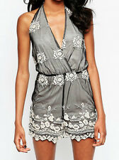 Womens embroidered crochet detail halterneck playsuit by GLAMOROUS UK 10 Bnwt