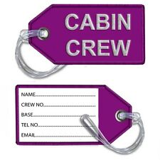 Cabin Crew- Embroidered Crew Tags (Dark Pink)