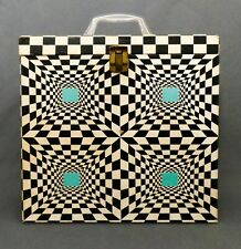 MID-20TH C VINT PSYCHEDELIC BLACK/WHITE/AQUA PRESSED PAPER FULL LP CASE W/HANDLE