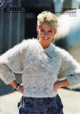 "~ Emu Knitting Pattern For Lady's Lovely Wrap Neck Mohair Sweater ~ 30"" ~ 40"" ~"