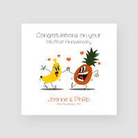 Personalised Handmade 4th Fruit Wedding Anniversary Card - Fourth, Cartoon,Funny