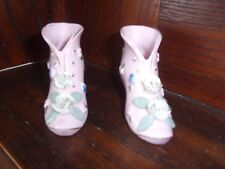 pair of Pink boots with white roses ceramic shoes made in japan