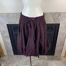 NWT ELEVENSES Anthropologie M Plum Elastic Waist Handkerchief Lined Flare Skirt