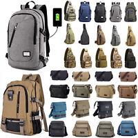 Men Vintage Canvas Backpack Rucksack Travel Hiking Schoolbag Sport Messenge Bag
