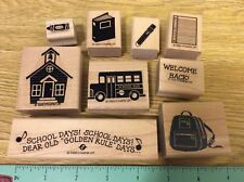 """Stampin' Up! 9 Wooden Mounted Rubber Stamps Stamping """"Golden Rule Days"""" School"""
