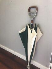 Rare Gucci Umbrella Equestrian Spectator Golf Vintage Green & White
