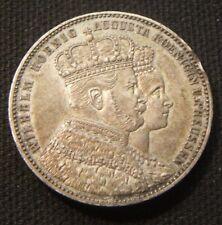 1861~~GERMAN THALER PRUSSIA~~RARE~WILHELM~CORONATION~~AU-UNC TONING BEAUTY